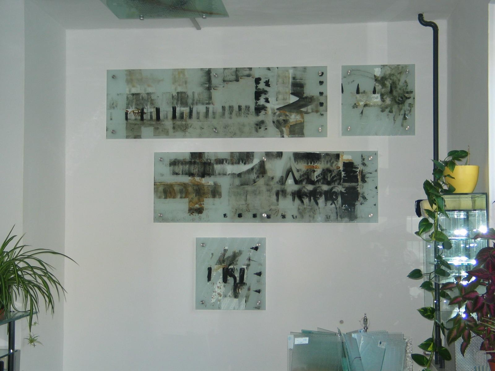 Wandbild Klarglas sandegstrahlt und bemalt