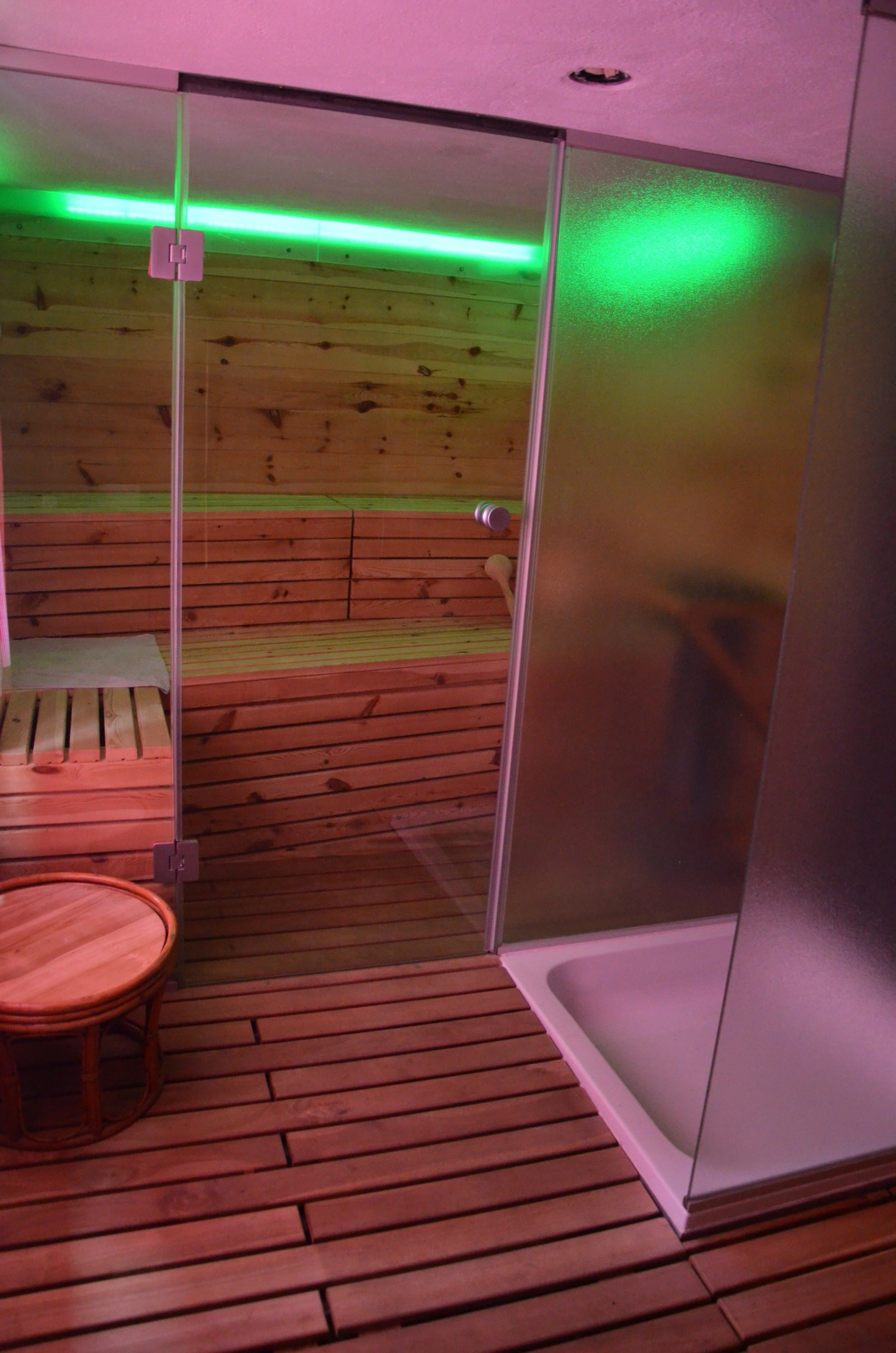 Duschwand und Saunatür