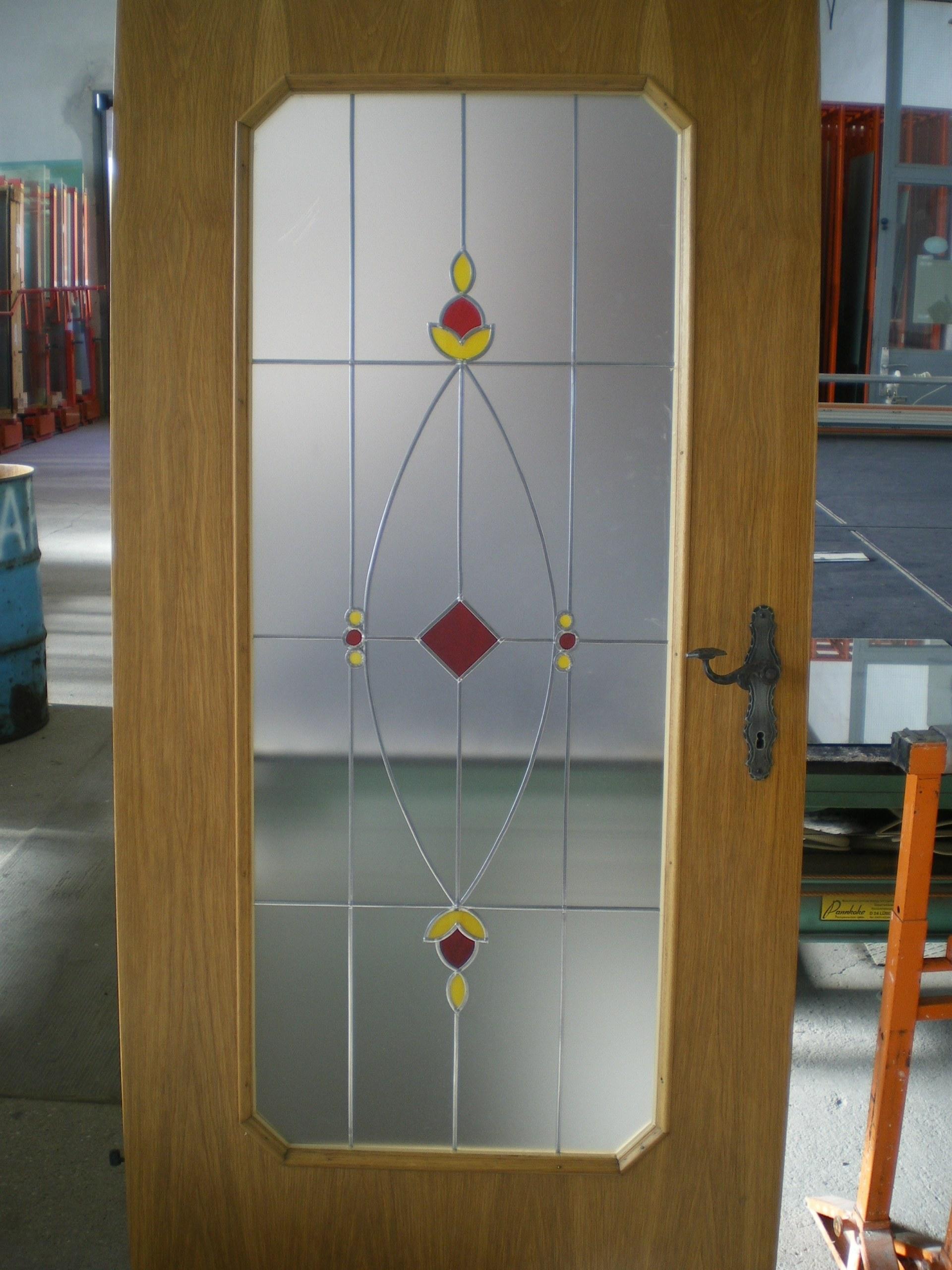 Türverglasung satiniert Bleidecor